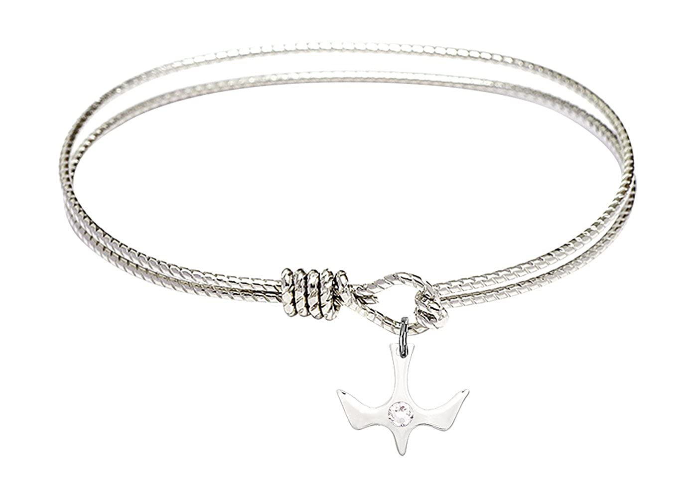 Holy Spirit Charm On A 7 1//4 Inch Oval Eye Hook Bangle Bracelet