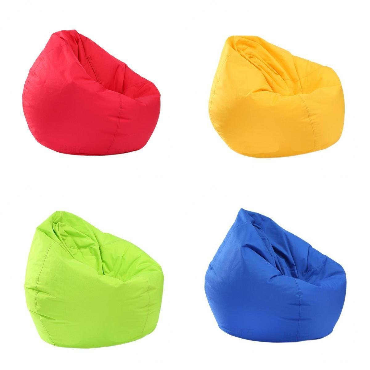 B Blesiya 4Pieces Red & Yellow & Blue & Green Extra Large Kids Stuffed Animals Storage Bean Bag Chair Cover (Waterproof)