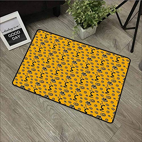 - LOVEEO Outdoor Doormat,Primitive Silhouette of an African Women Playing Musical Instrument and Snakes Figures,Easy Clean Rugs,20