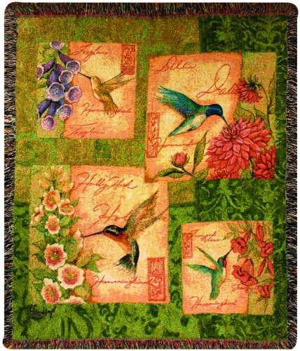 Manual Take Flight Collection 50 x 60-Inch Tapestry Throw, Wings and Blossoms by Susan Winget