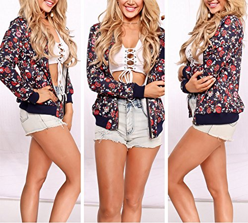 Playworld Women's Short Bomber Floral Printed Jacket Zipper Coat