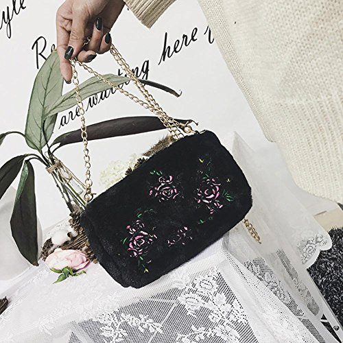 Flowers Chain Women Black Widewing Embroidered Plush Bag Crossbody Bag Shoulder Messenger q676wZX4x