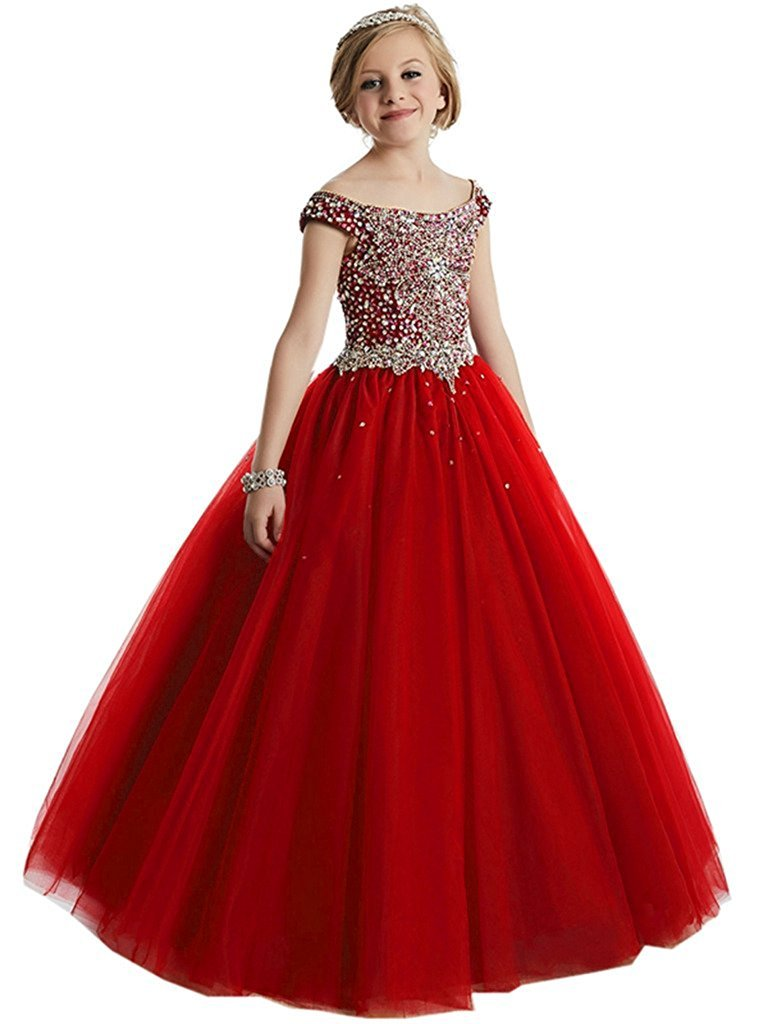 Girls Off the shoulder Glitz Sequins Hollow Corset Beauty Pageant Dress for Teens10 US Red