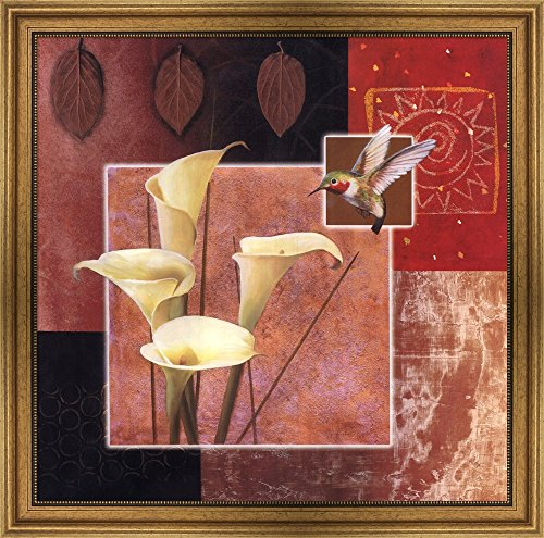Calla Lily/Butterfly by Tan Chun Framed Art Print Wall Picture, Wide Gold Frame, 29 x 29 inches (Tan Chun Lily)