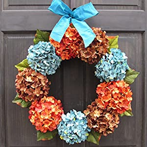 Late Summer and Fall Front Door Wreath with Blue, Orange and Brown Faux Hydrangeas 107