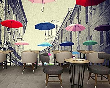 Mbwlkj Kitchen Wallpaper Living Room Design Ideas 3d Murals For Walls Vintage European Street Umbrella Modern Living Room Wallpaper 400cmx280cm Amazon Com