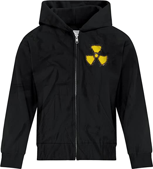 BSW Mens Radioactive Nuclear Grunge Hazard Logo Zip Hoodie