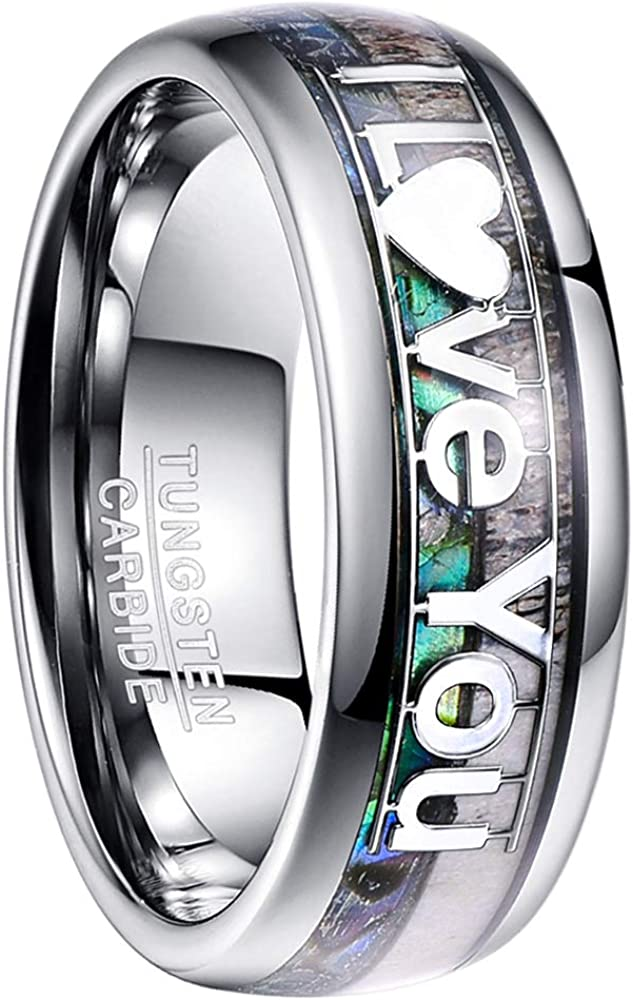 NUNCAD Natural Abalone and Deer Antler Tungsten Ring I Love You Size 7-12