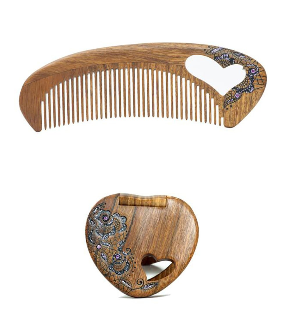 ARSH Natural Wood Combs Antistatic Comb Women's Wooden Comb Jade Sandal Comb Gift Set Comb Set