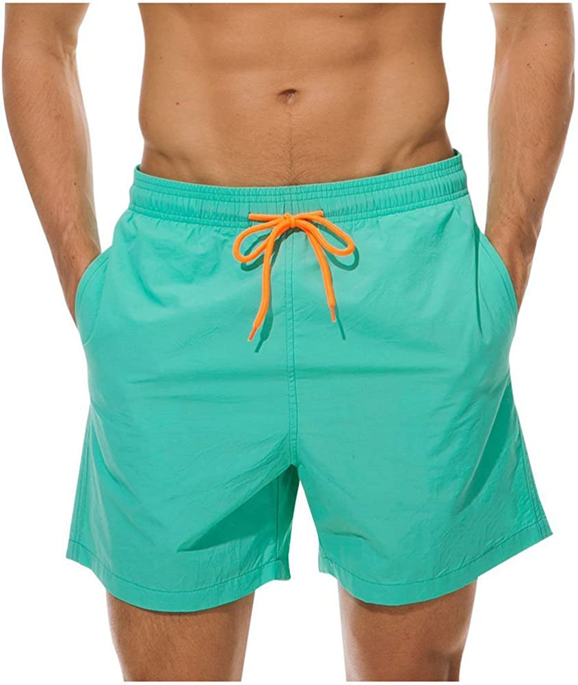 ALL IN ONE CART Men's Quick Dry Swim Trunks Bathing Suit Beach Shorts with Mesh Lining