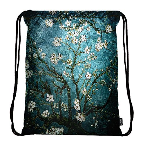 Meffort Inc Lightweight Drawstring Bag Sport Gym Sack Bag Backpack - Almond Blossom