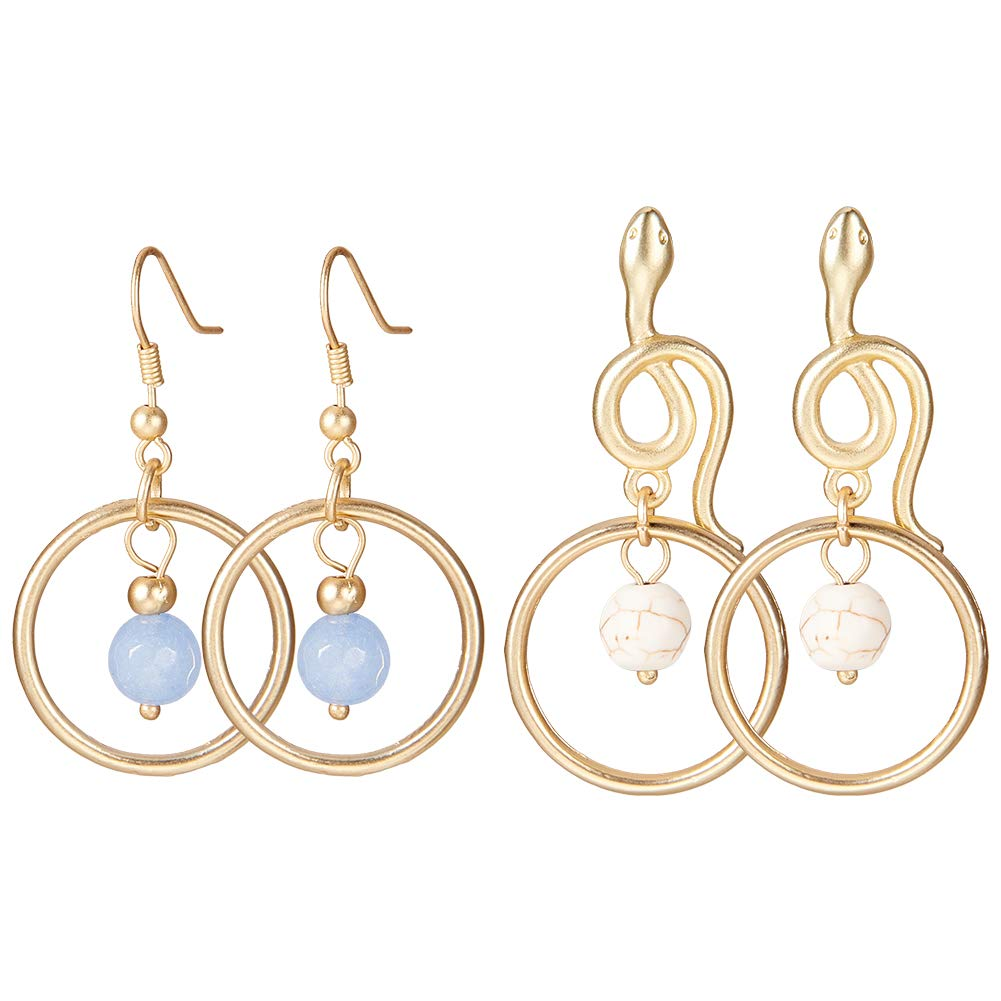 SUNNYCLUE 2 Pairs 18K Gold Plated Round Concentric Circles Gemstone Dangle Hook Stud Earrings Nickel Free