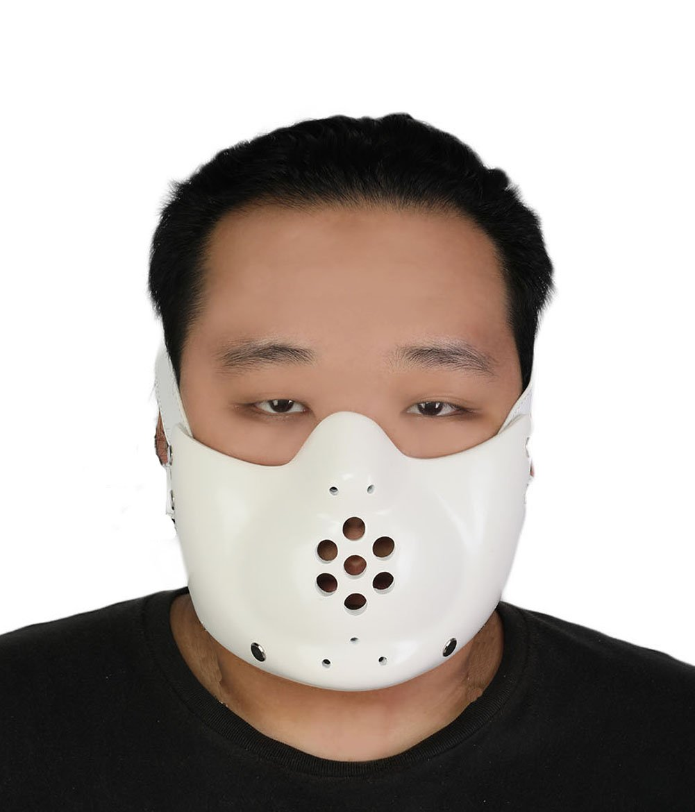 Hannibal Lecter Mask Deluxe Resin Cosplay Costume Halloween Party Headwear Accessory Prop White