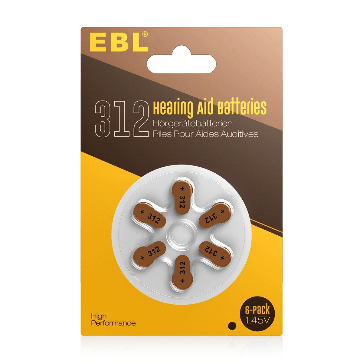 EBL Hearing Aid Batteries Size 312 PR41 60 Pack 1.45V Zinc-Air Battery
