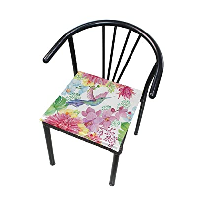 Bardic FICOO Home Patio Chair Cushion Hummingbird Orchids Painting Square Cushion Non-Slip Memory Foam Outdoor Seat Cushion, 16x16 Inch: Home & Kitchen
