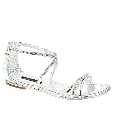 buy popular bc644 94c31 Alberto Venturini Damen Flache sandaletten, Silber, 39 ...