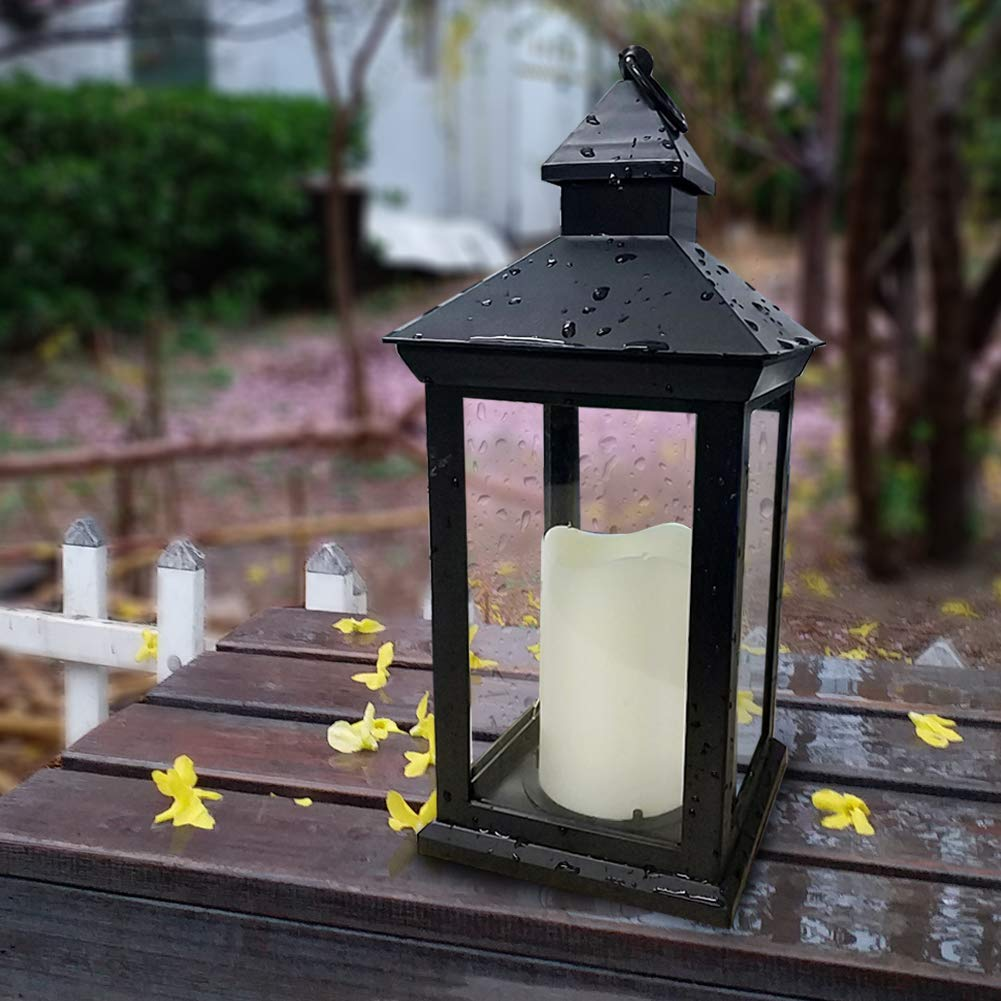 "Bright Zeal BZN 14"" Tall Vintage Decorative Lantern with LED Pillar Candle (Black, Batteries Included) - Waterproof Lanterns Large Lanterns Decorative Outdoor Lanterns - Hanging Candle Lantern Indoor"