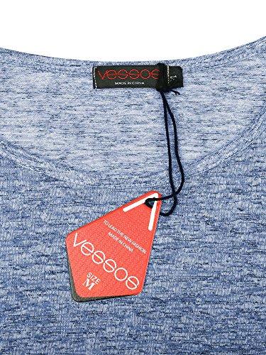 S Casual Shirt T VESSOS Manches 2XL Bleu Femme Blouse Courtes qOFIFw07y