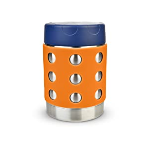 LunchBots Thermal 12 oz Triple Insulated Food Container - Hot 6 Hours or Cold 12 Hours - Leak Proof Thermos Soup Jar - All Stainless Interior - Navy Lid - Orange Dots