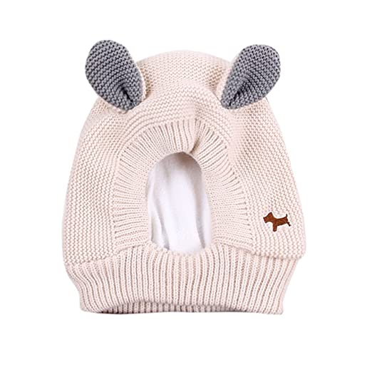 Naiflowers Boy Girl Children s Cute Puppy Dog Ear Earmuffs Knitted Wool Beanie  Hat (Beige) ff91ca6ca08