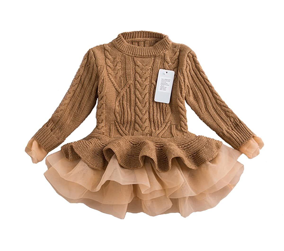 belababy Girl Sweater Pullover Ruffle Organza Stitching Knitting