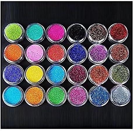 RICISUNG Lot de 24 pots de poudre brillante pour décoration d'ongles, maquillage et nail art