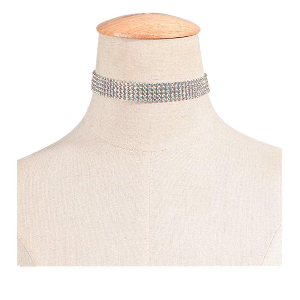 XY Fancy Women Fashion Multi Row Rhinestone Collar Choker Necklace Bridal Wedding Party Multicolour 1.6cm xyfancy-161102-1.3