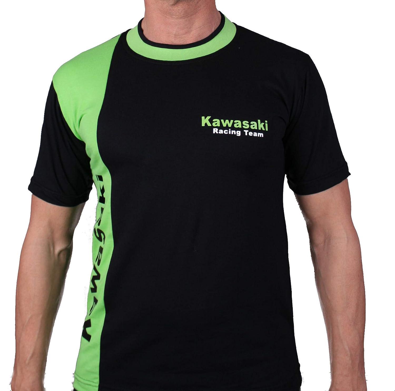 L T-Shirt Racing Team KAWA de Moto Logo Fans Noir Vert 100/% Coton Polo Motors