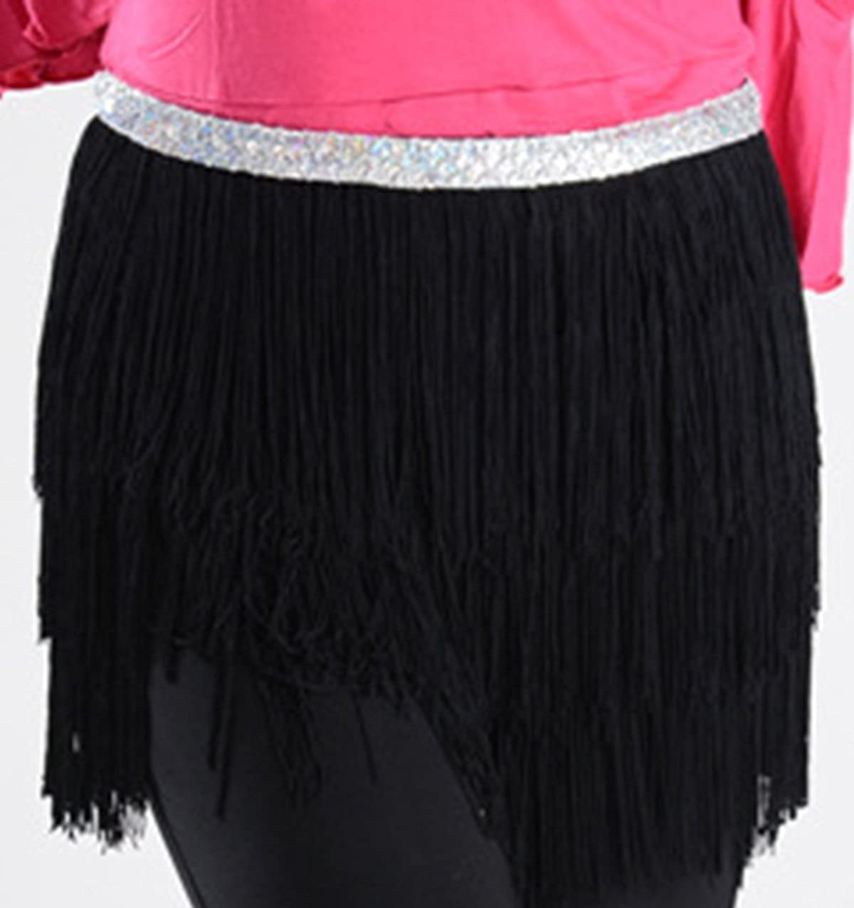 Astage Women`s Three Layers Belly Dance Belt Tassel Hip Scarf