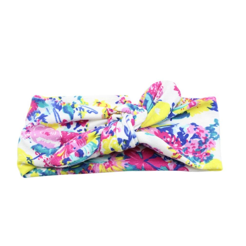 Baby Bow Hairband Koly Girls Photography Toddler Flower Print Knot Cross Headband Baby Hair Accessories Yellow