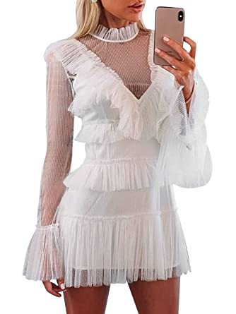 19a11f7cbc Simplee Women's Elegant Long Sleeve Tiered Dress Tulle Mesh Ruffle Short  Mini Party Dress