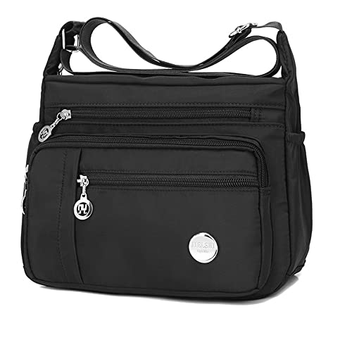 080ccf2c2327 Casual Crossbody Bags for Women with Pockets Water Resistant Lightweight  Nylon Shoulder Bags (Black)
