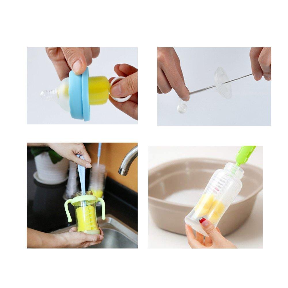 Bouteille brosse ensemble de nettoyage pour bouteilles en plastique//bouteilles en verre//pailles 7 pi/èces brosse /à biberon