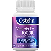 Ostelin Vitamin D3 1000IU Capsules - Maintains bone and muscle strength - Helps boost calcium absorption, 130 Capsules 130 count