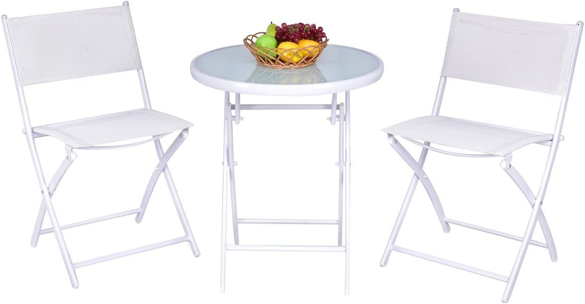 Giantex 3 PCS Folding Bistro Table Chairs Set Garden Backyard Patio Outdoor Furniture White