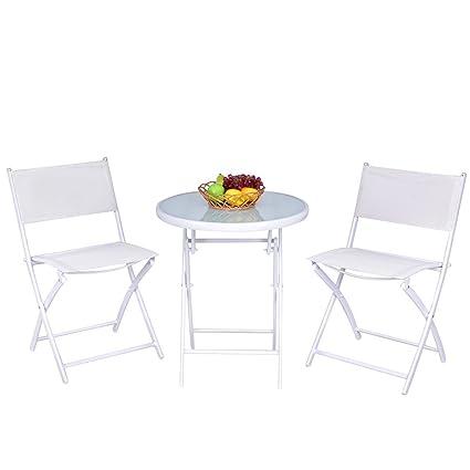 Cool Giantex 3 Pcs Folding Bistro Table Chairs Set Garden Backyard Patio Outdoor Furniture White Bralicious Painted Fabric Chair Ideas Braliciousco