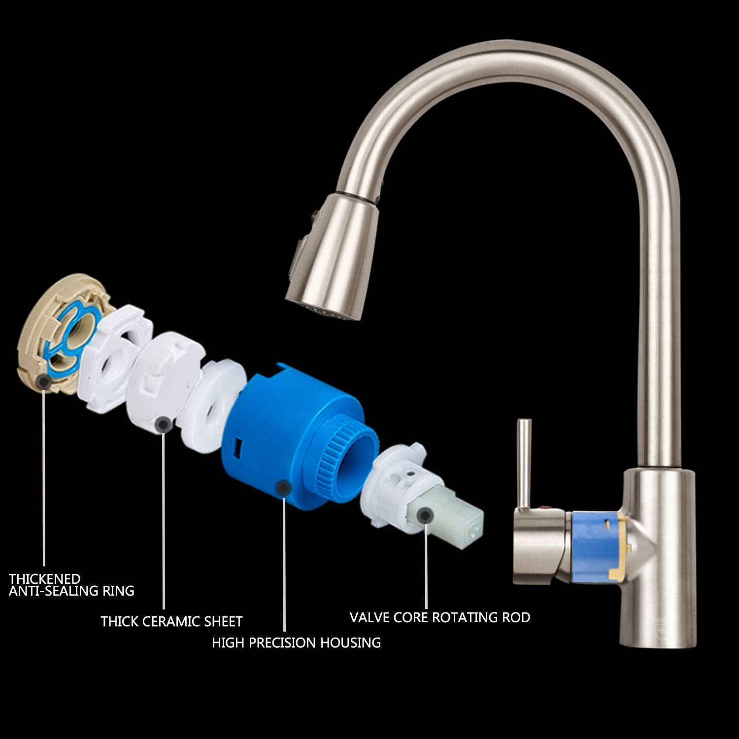 Sink Faucet, TECCPO Single Handle High Arc Brushed Nickel Stainless Steel Kitchen Sink Faucet with 3 Spray Modes Pull Down Sprayer, Kitchen Faucet with Deck Plate by TECCPO (Image #7)