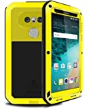 LG G5 case,Feitenn Water resistant Shockproof Rain proof Dust/Dirt/Snow Proof Gorilla Glass Aluminum Metal Military Heavy duty Silicone Case For LG G5 (Yellow)