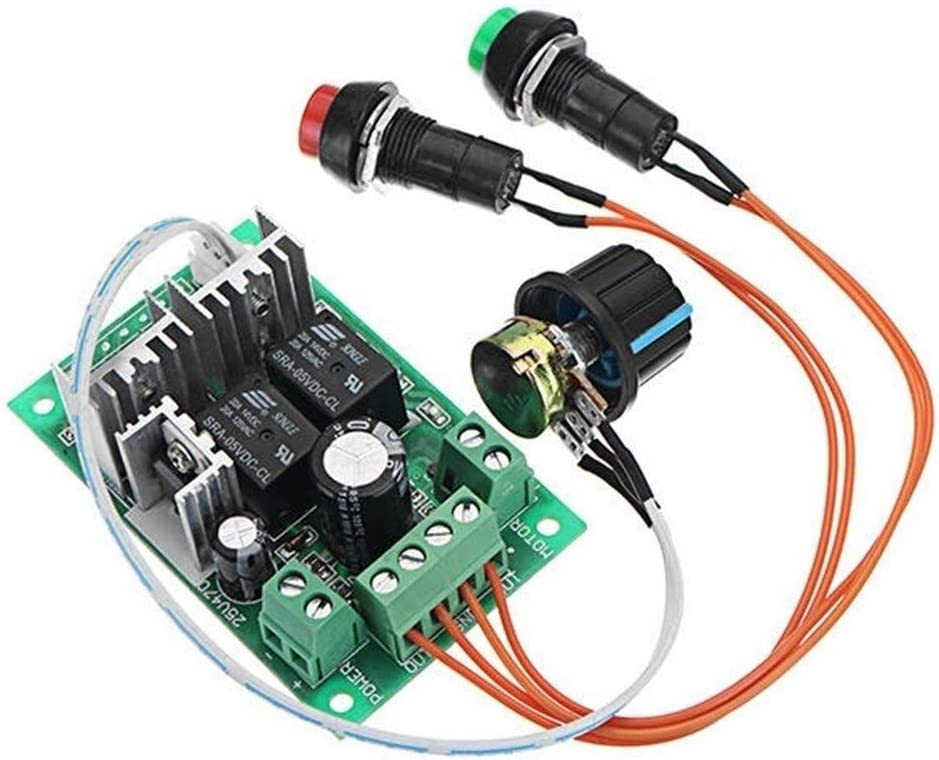Regulador del regulador de la CC 5-30V 10A 300W PWM DC Motor Velocidad Velocidad 6V 12V 24V positivo y revertir Empuje el interruptor eléctrico interruptor varilla del motor controlador de bloqueo lib