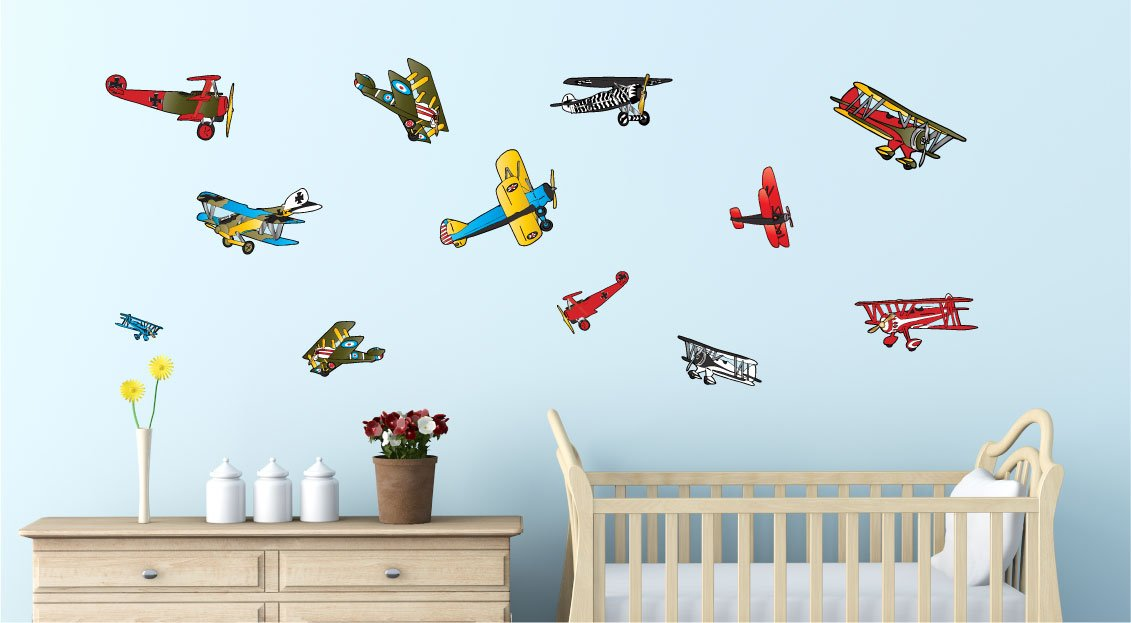 Amazon.com: Vintage Airplane Wall Stickers  Decals  Air Plane Wall Decor:  Baby