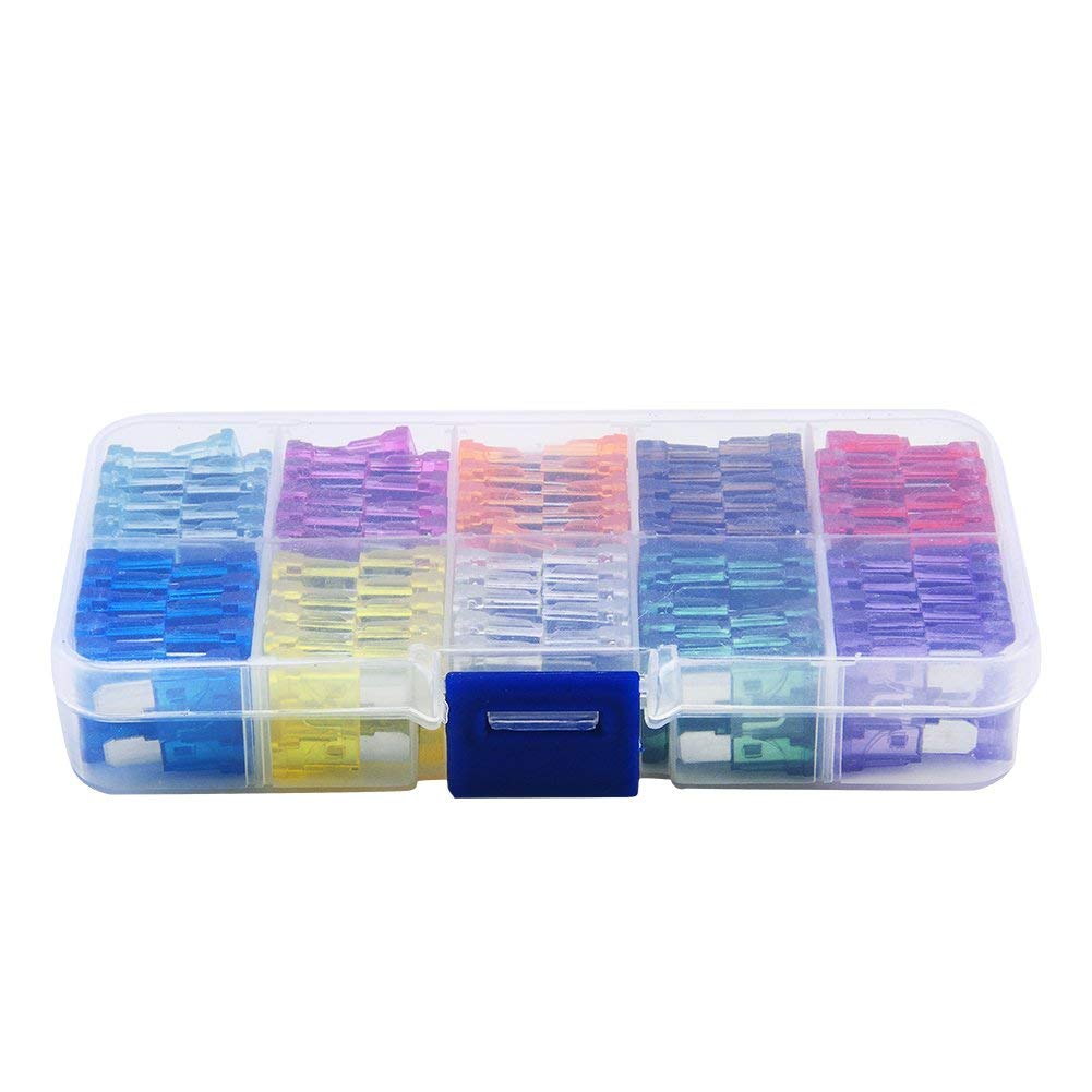 Yosoo 100 pcs Assorted Auto Car Trunk Standard Blade Fuse 2,3,5,7.5,10,15,20,25,30 35 Amp Car Boat Truck SUV Automotive Replacement Fuses Auto Holder Fuse Kit Car Accessories