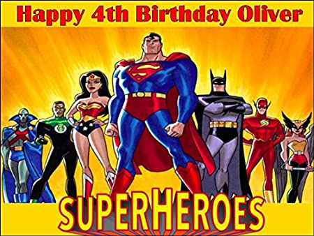 Fine A4 Superheroes Cartoon Edible Icing Birthday Cake Topper Superhero Personalised Birthday Cards Veneteletsinfo