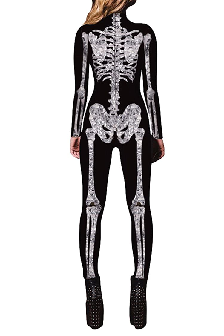 Amazon.com  Selowin Womens Halloween Skeleton Print Costume Stretch Skinny  Catsuit Jumpsuit  Clothing cb087ee815