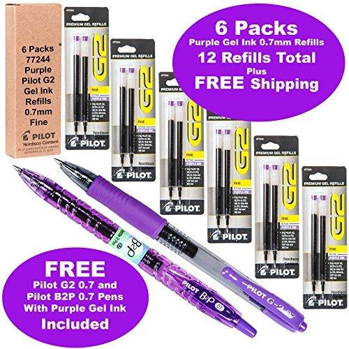 Pilot G2 Refills, Purple Ink 0.7mm Fine, 6 Packs of Refills Plus 1 Pilot G2 07 Purple Pen and 1 Pilot B2p Purple Pen