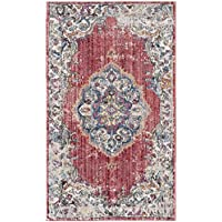Safavieh Bristol Collection BTL343B Fuchsia Pink and Light Grey Vintage Bohemian Medallion Area Rug (3 x 5)