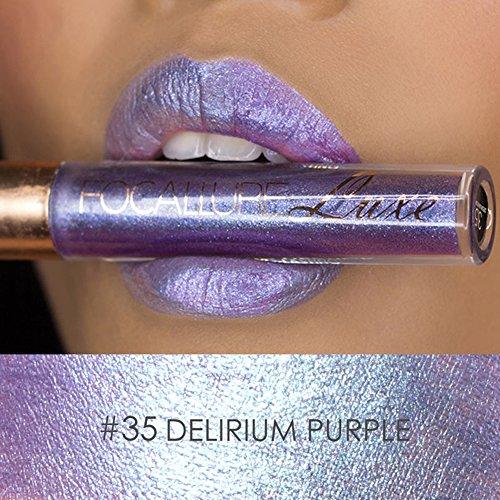 Focallure Purple Lipstick Metallic Sparkly Lipgloss Womens Makeup Stay On Glossier Lip Gloss Glitter Long Lasting Colorstay Liquid Waterproof Lip Stick Purple