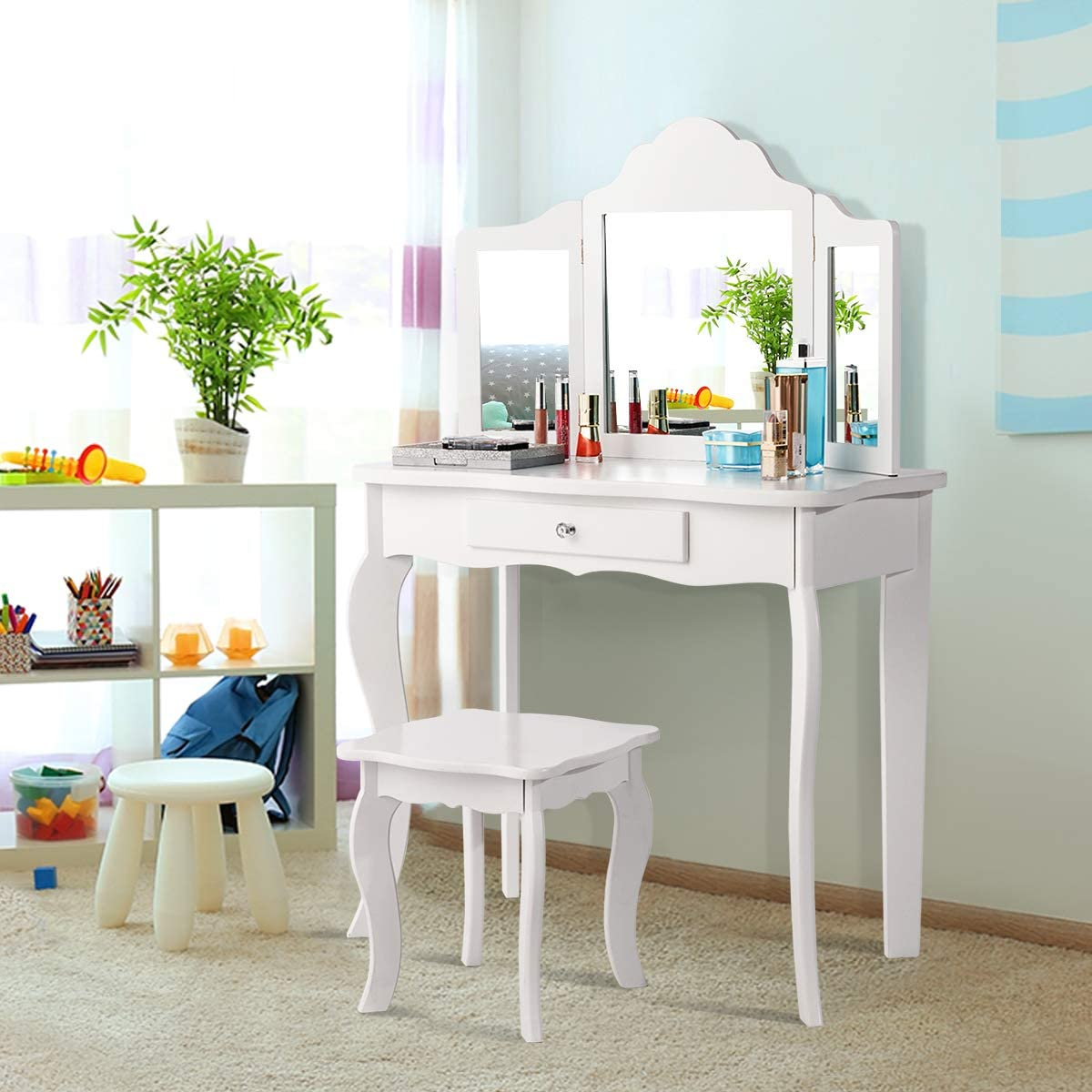 Costzon Kids Wooden Vanity Table Stool Set, 2 in 1 Detachable Design with Dressing Dable and Writing Desk, Princess Makeup Dressing Table with Two 180 Folding Mirror, for Girls, Kids, White 42 IN