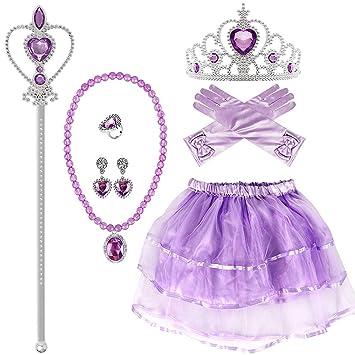 VAMEI Princesa Sofia Vestir Disfraz de Fiesta Accesorios Guantes Tiara Wand  Necklace Falda de tutú 93f9c7f2095
