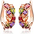 findout signore elemento swarovsky rosa placcato oro di cristallo orecchini CZ austriaco, per le donne ragazze (f1627)