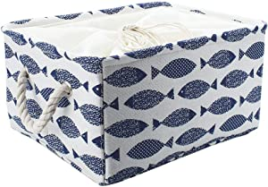 uxcell Storage Basket Bin with Cotton Handles, Fabric Storage with Drawstring Closure for Clothes Towel Toys Organizer,Laundry Basket for Home Shelves Closet Blue+Off White Large